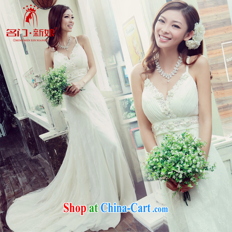 The bride's Korean version wiped his chest new sweet Princess strap with small tail dress 815 S