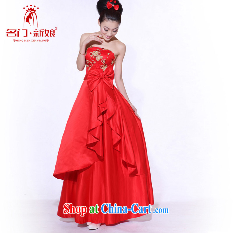The bride toast wedding dress red erase chest dress with long dress 683 M