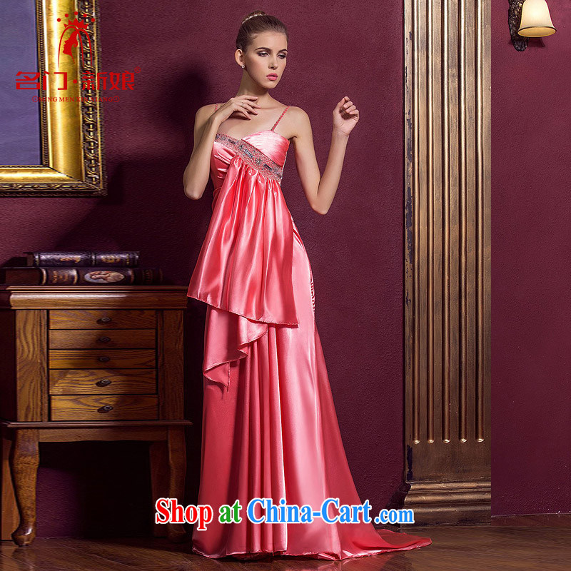 The bridal wedding dresses wedding dress red straps long gown bridal toast serving 862 pink L
