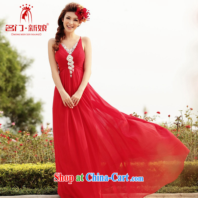 The bride's wedding dresses long red bows Stage service wedding dresses Evening Dress evening dress 276 L