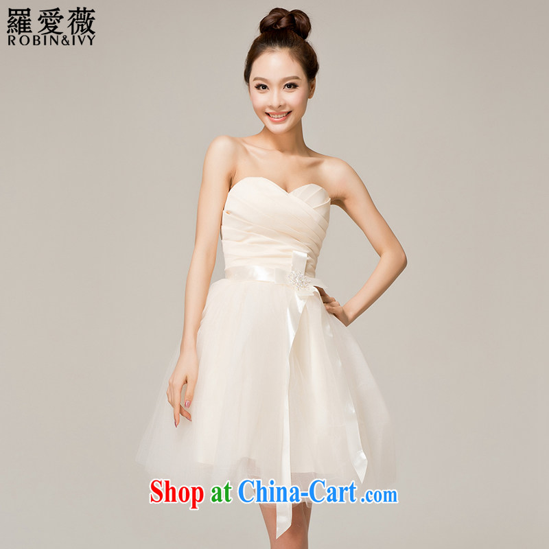 Paul love Ms Audrey EU (RobinIvy) bridesmaid dress 2015 new wipe chest short skirt dress L 12,119 champagne color M