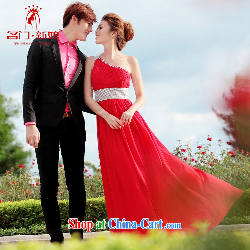 The bride's wedding dresses red long dress Korean single shoulder dress dinner serving toast serving 232 L
