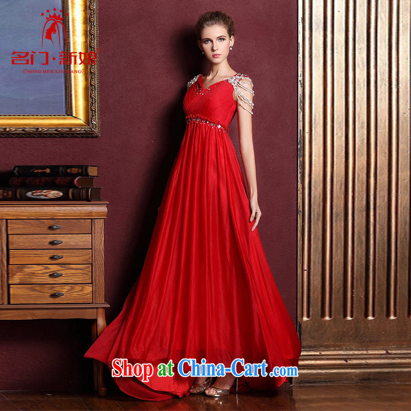 The bride's wedding dresses red dress uniform toast high waist cultivating long dress V collar 281 M