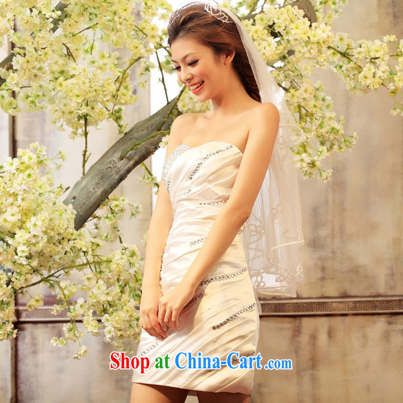 The bride's wedding dresses short small dress bridal gown bridesmaid toast serving Stage service 261 white M