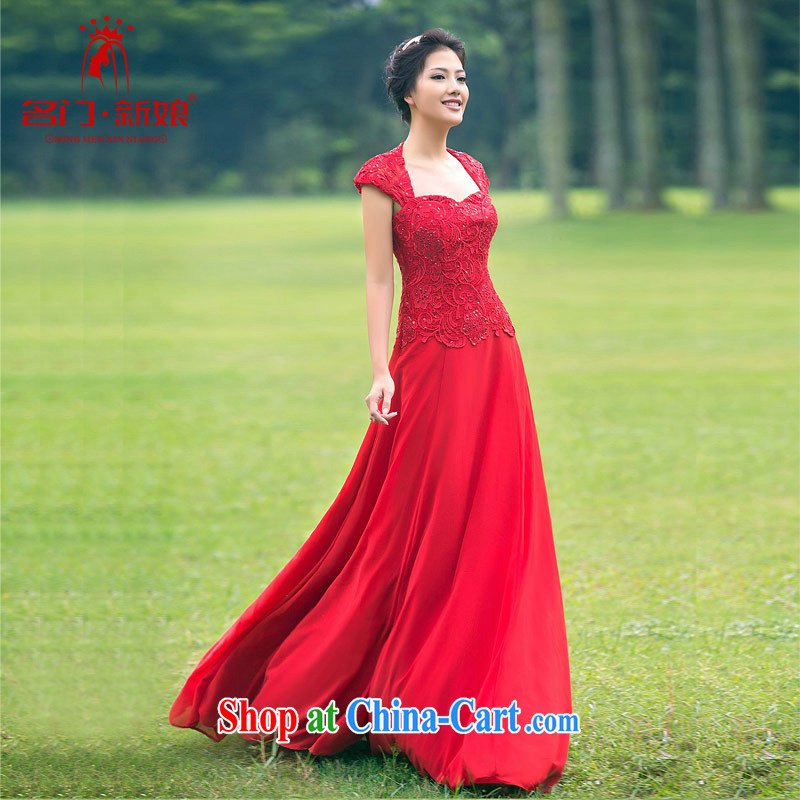 The bride's wedding dresses long red evening dress elegant banquet service wedding toast serving 880 L