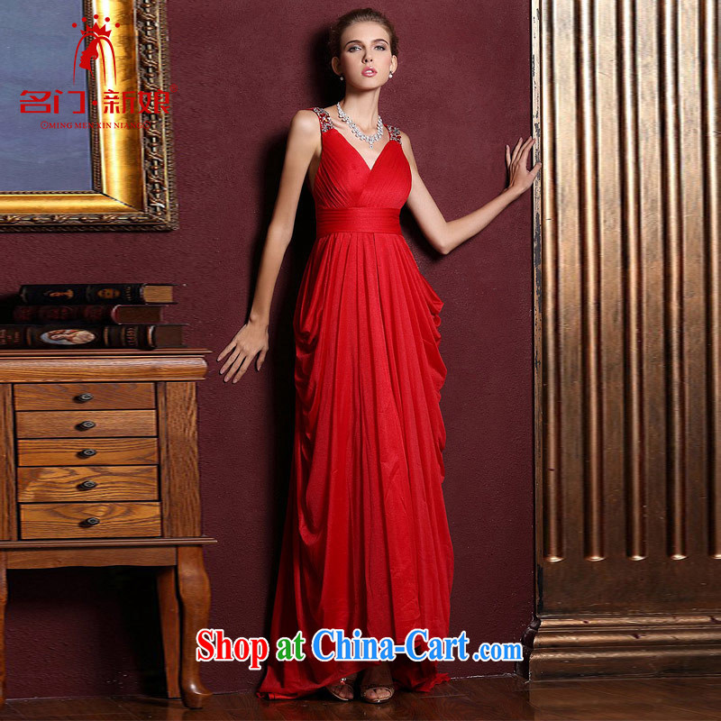 The bride's wedding dresses 2015 New Red wedding dresses toast long evening dress 285 M