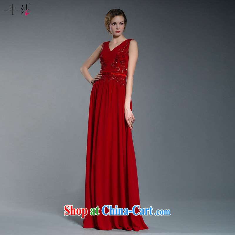 A yarn wedding dresses 2015 New Red bridal toast dress Deep V collar dress skirt 402401351 red XXL code 20 days pre-sale