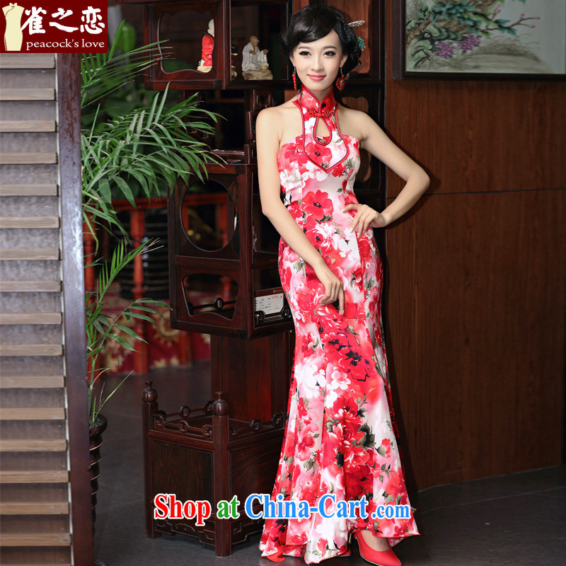 Birds love a married 2015 new cheongsam dress dress sense is also wiped his chest Silk Dresses 357 QD XL