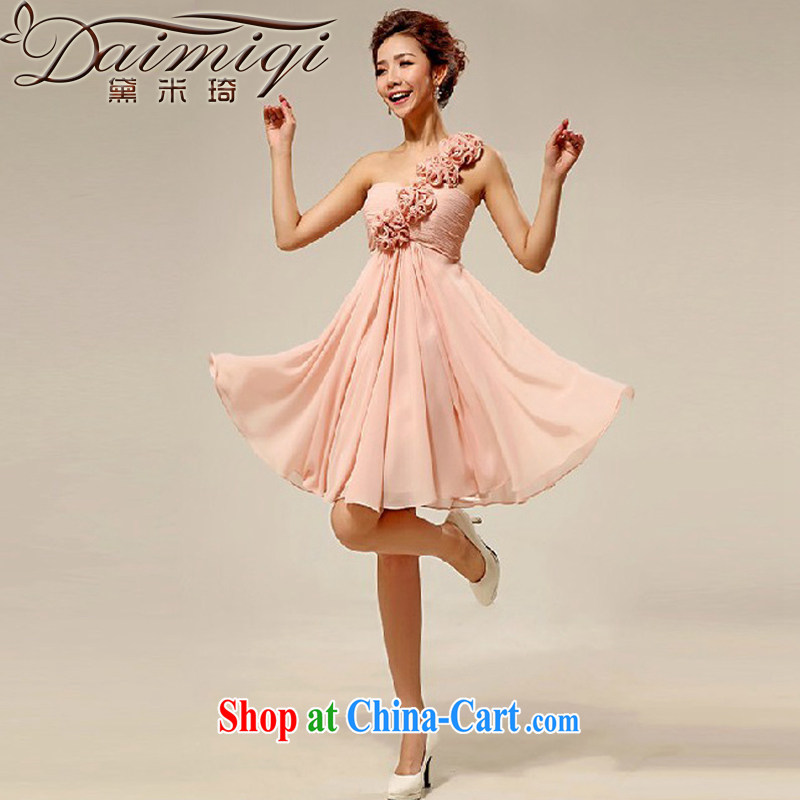 Diane M Ki wedding dresses new 2014 Korean single shoulder style marriages small dress bridesmaid serving meat pink XXL