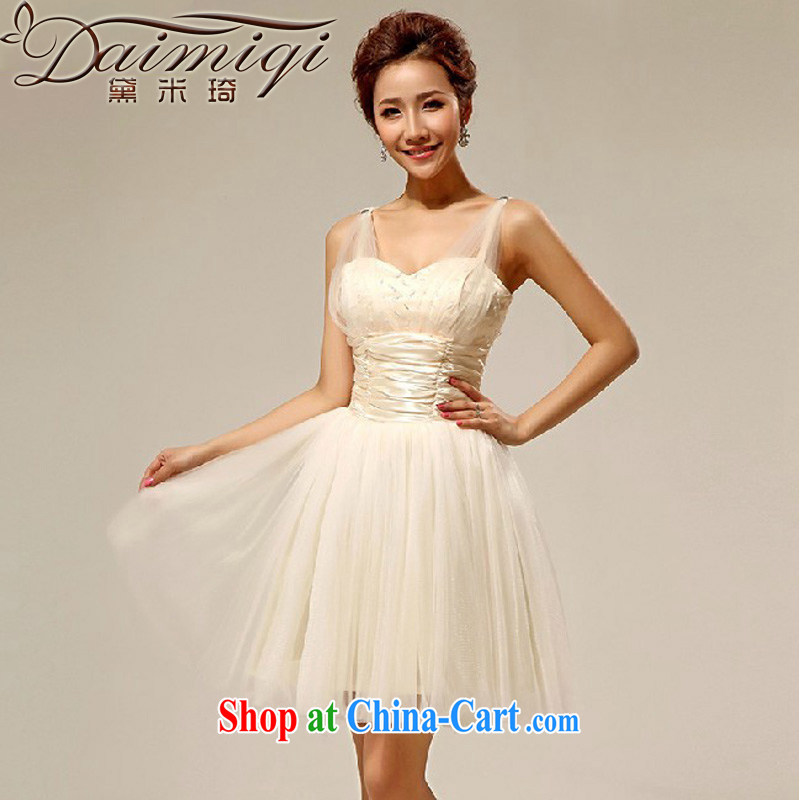 Diane M Qi 2014 new dual-shoulder bridesmaid dress lovely shaggy dress short bridesmaid clothing dress sister dress champagne color XXL
