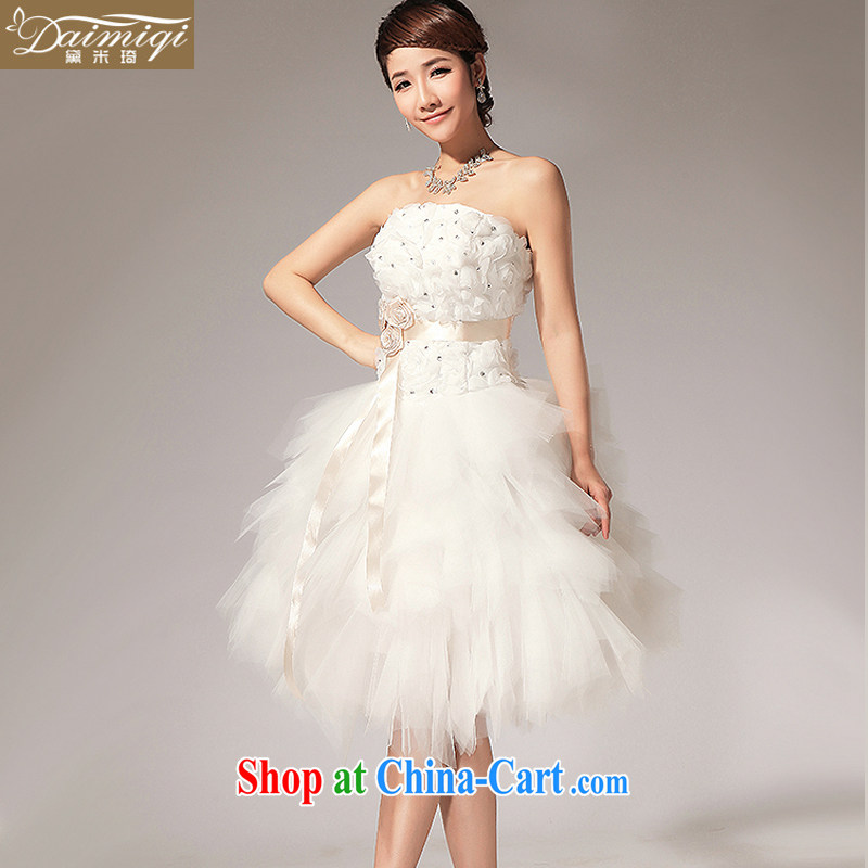 Diane M Ki wedding 2014 new erase chest flowers with sister bridesmaid dresses small short skirt white XXL