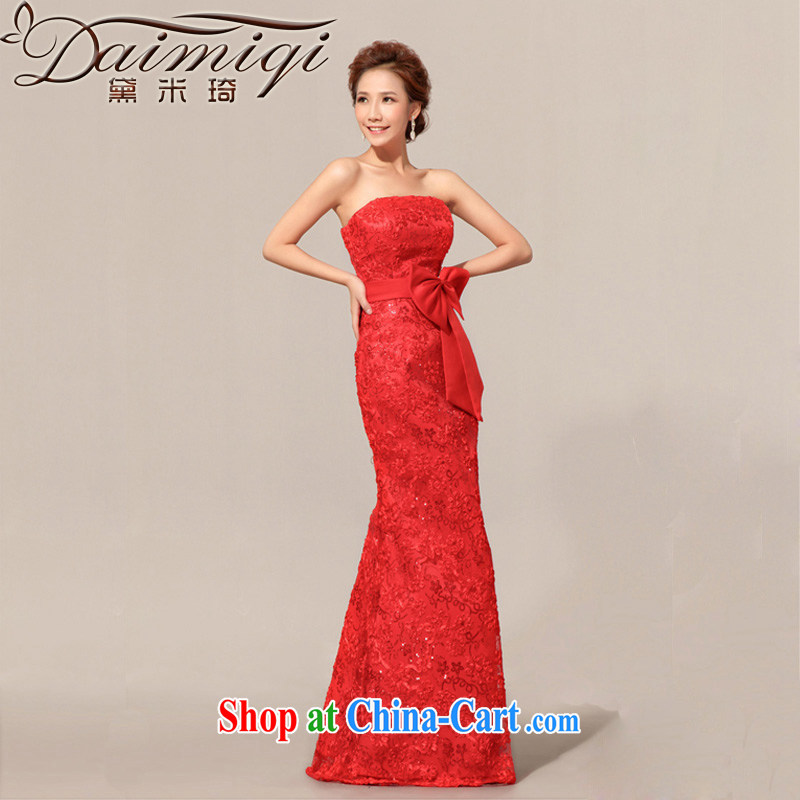 Diane M Qi 2014 new spring marriages wedding lace flowers toast wiped his chest red evening dress red S