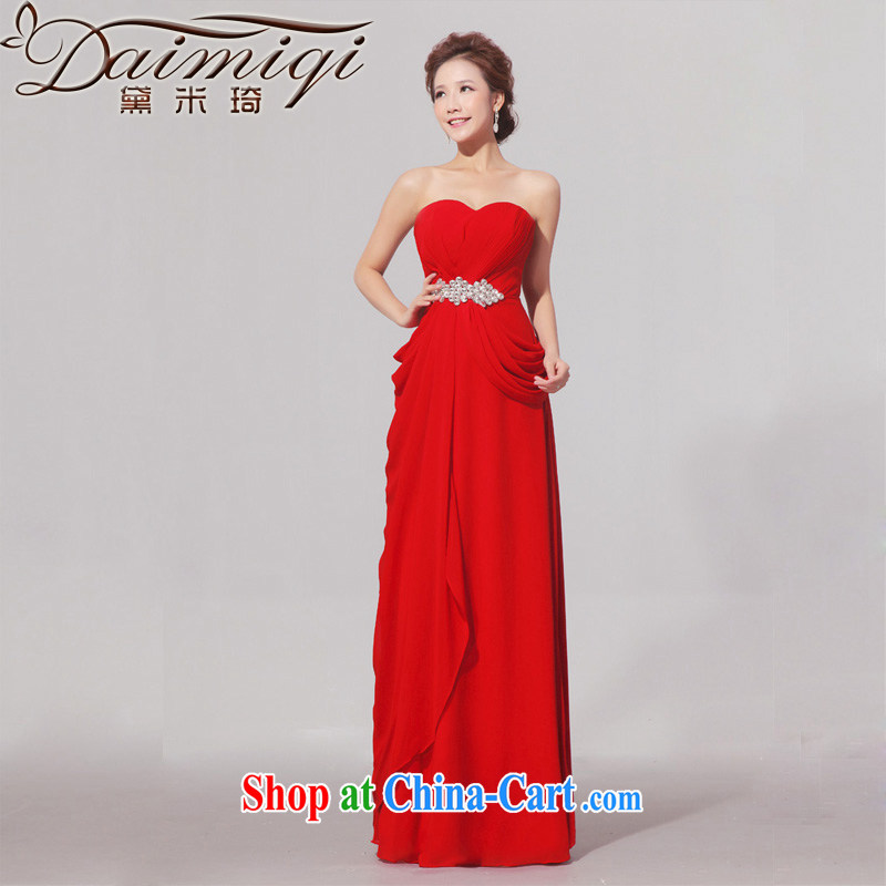 Diane M Ki wedding dress red elegant graphics thin dress long drill bridal dresses serving toast red XXL