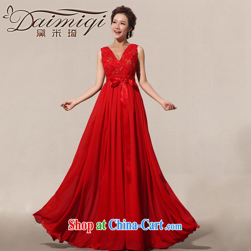 Diane M Ki wedding dresses bows new 2014 Evening Dress straps high-waist-shoulder pregnant women can be custom red XXL