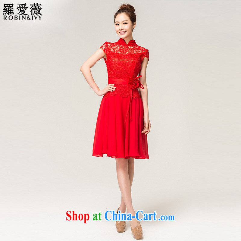 Paul love Ms Audrey EU (RobinIvy) toast service 2015 new lace short Bridal Fashion wedding dress L 13,742 red XL