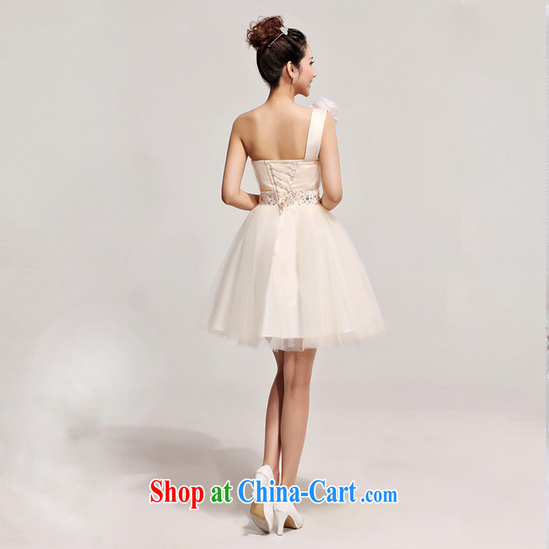 2014 new bride toast SERVING THE SHOULDER short bridesmaid dress Korean single shoulder flowers wedding dresses champagne color XXL, Diane M Ki, shopping on the Internet