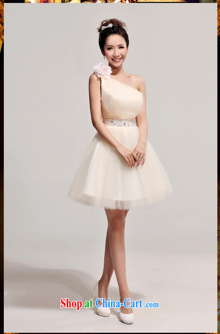 2014 new bride toast SERVING THE SHOULDER short bridesmaid dress Korean single shoulder flowers wedding dresses champagne color XXL pictures, price, brand platters! Elections are good character, the national distribution, so why buy now enjoy more preferential! Health
