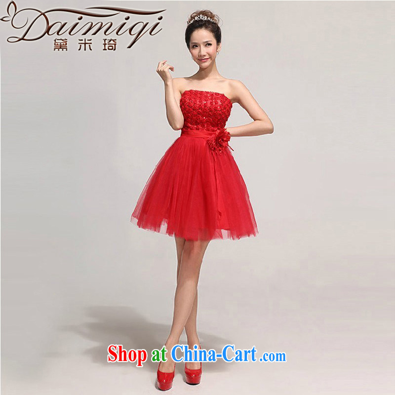 bridesmaid short small dress dress 2014 new bride wedding dress red bows dress beauty, red XXL