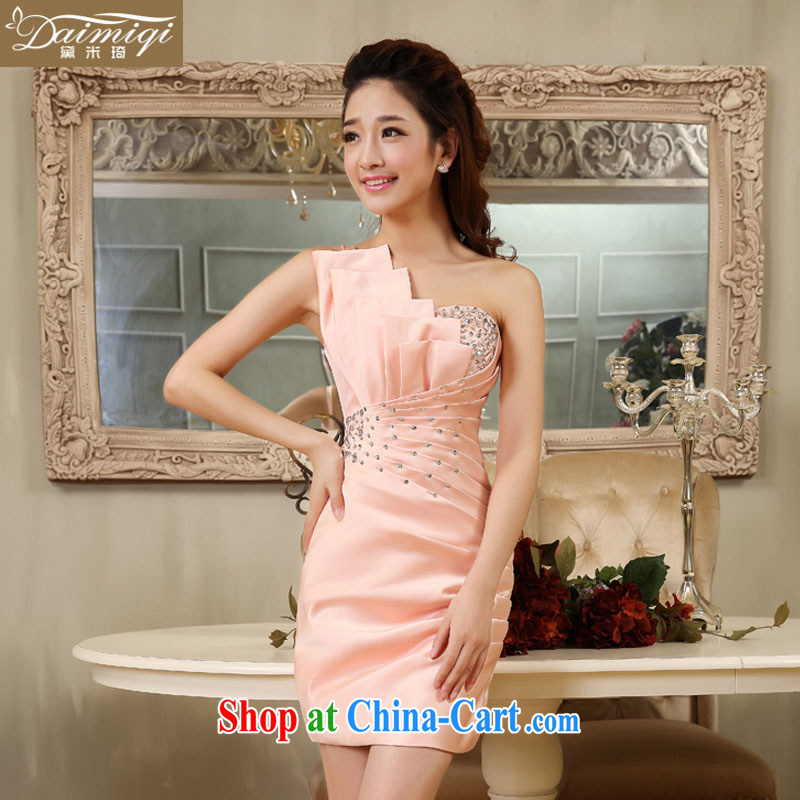 wedding dresses 2014 new single shoulder beauty pink small dress beauty graphics thin dress sweet dress skirt pink S