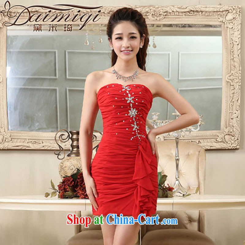 wedding dresses 2014 new erase chest parquet drilling small red dress short dress beauty dress skirt red XXL