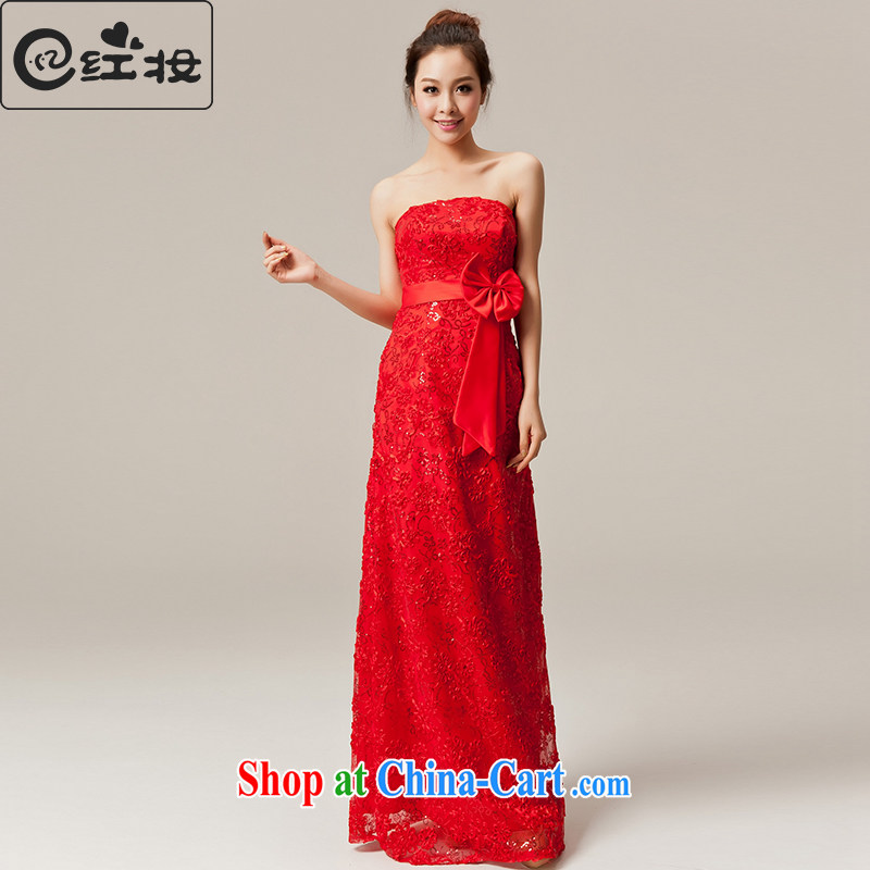 Recall that the Red Cross summer makeup, bridal wedding dress New Red lace long wiped his chest serving toast bridesmaid wedding dress L 12,050 red XL