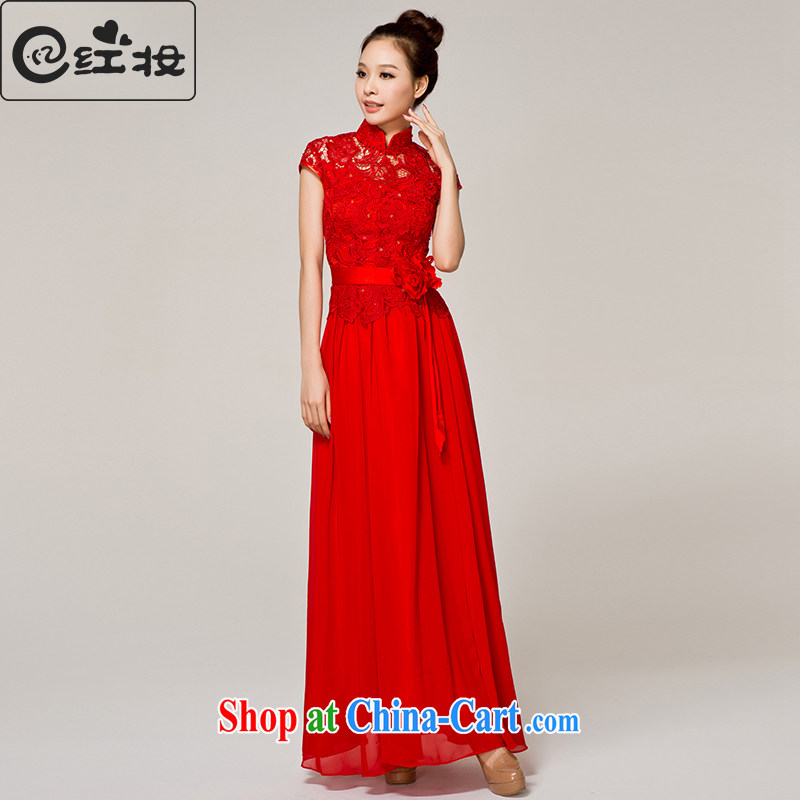 Recall that the Red Cross summer makeup, bridal wedding dresses bridesmaid long wedding dresses red lace chair serving toast dress L 12,152 red M