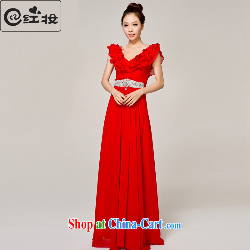 Recall that red Colombia Summer marriages wedding red long dual-shoulder dress New with bows dress 2015 new L 12,145 red XL