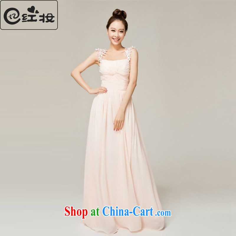 Recall that the red makeup spring and summer, marriages wedding double-shoulder dress bridesmaid long evening dress the dress L 12,135 pink XL