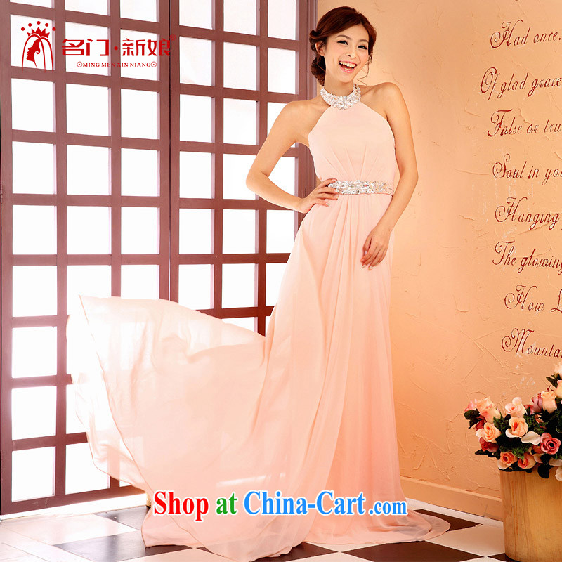 The bridal dresses 2015 marriage new toast serving long bridesmaid dress pink dress 219 pink L