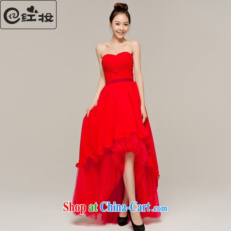 Recall that the red makeup spring and summer short before long bows dress bridal wedding dresses with bare chest moderator banquet service L 12,103 red L