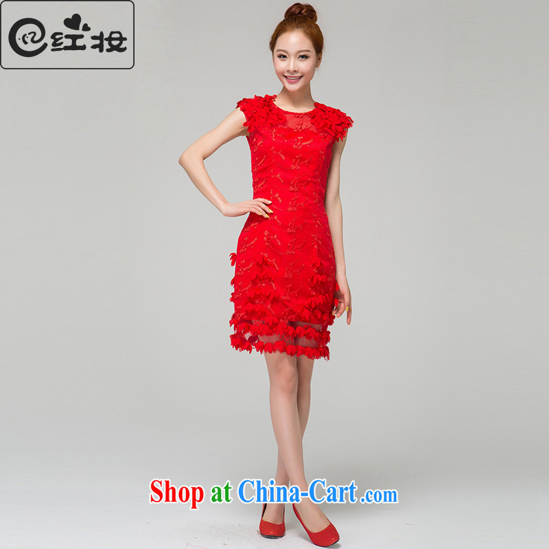 Recall that red Colombia Summer red marriages wedding dresses Korean version of the new bows, clothes dresses short bridesmaid dress L 13,784 red XL