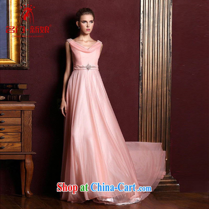 The bridal gown wedding new toast serving long bridesmaid dress red evening dress pink 326 M
