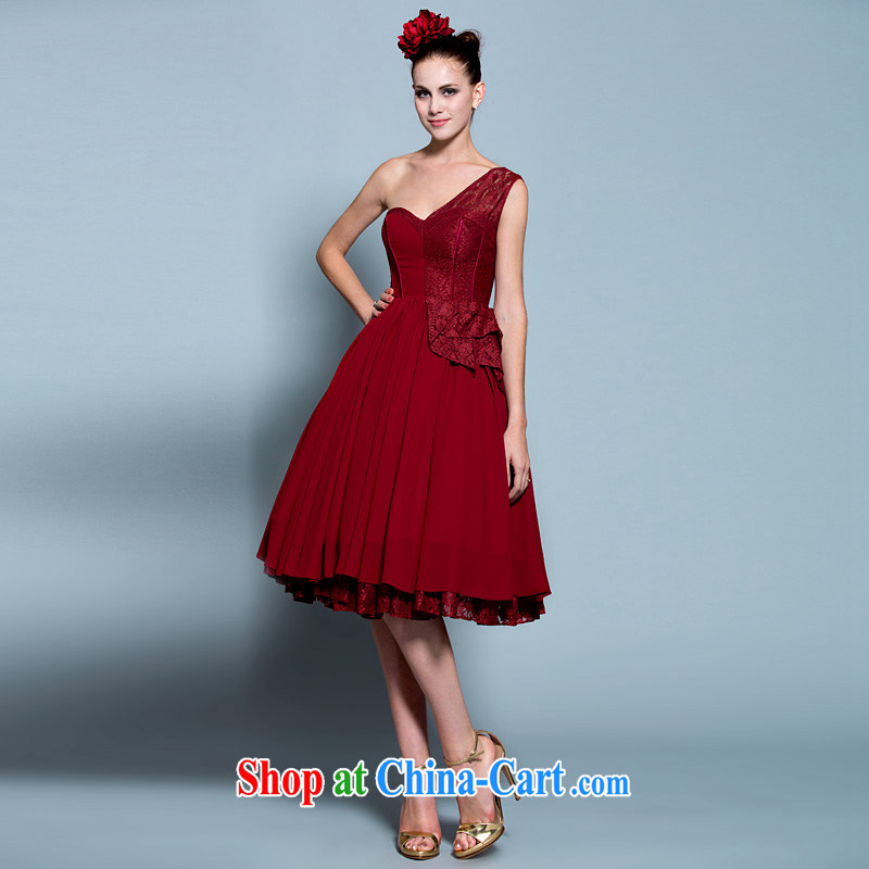 A yarn 2015 new single shoulder lace shaggy dress bridal toast annual service small dress wine red 20230642 red XXL code 15 days pre-sale