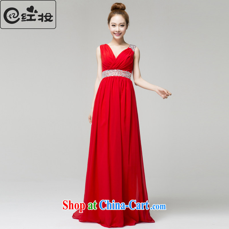 Recall that the red makeup spring and summer wedding dresses red marriages long V collar inserts drill bows dress skirt L 13,793 red XL
