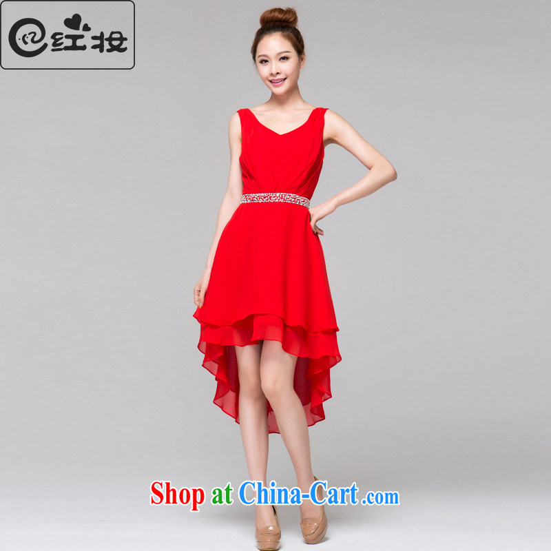 Recall that the red makeup spring and summer bridesmaid before after short length dual-shoulder dress V collar marriages bows dress 2015 new L 13,802 red M