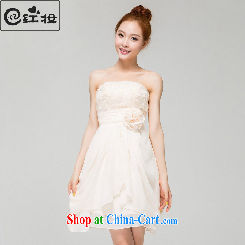 Recall that the red makeup spring and summer bridesmaid dress wiped chest short bridal wedding dress Korean sweet Princess evening dress beauty small dress L 13,770 champagne color M
