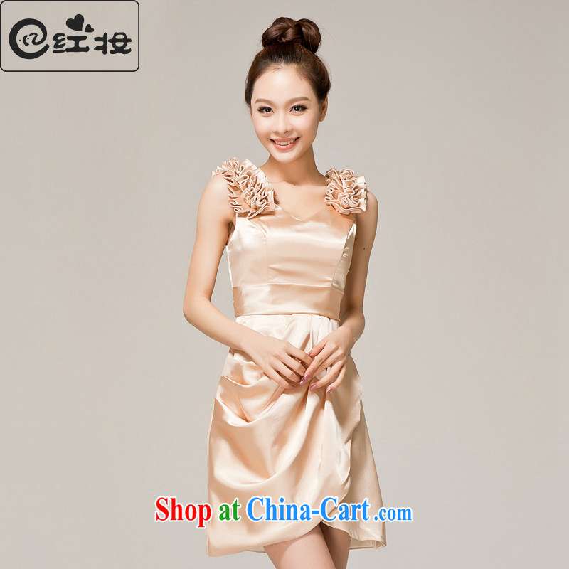 Recall that the red makeup spring and summer bridesmaid clothing shoulders 2015 small dresses, short bows serving temperament Princess bridesmaid dress uniform L 12,122 champagne color M