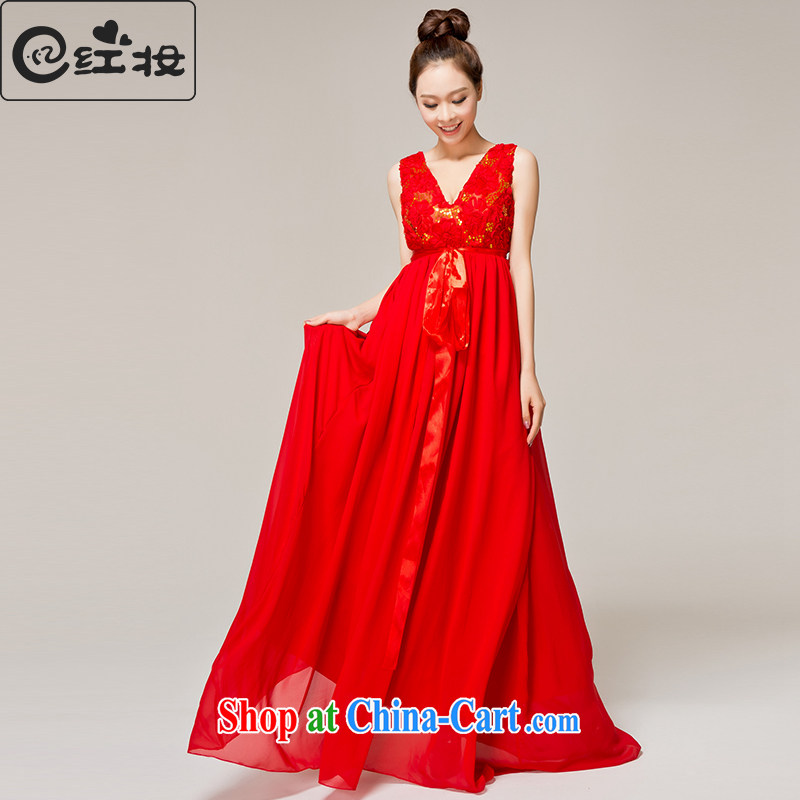 Recall that red Colombia Summer red long high-waist pregnant women larger bows service 2015 shoulders V collar marriages dress L 12,132 red XL
