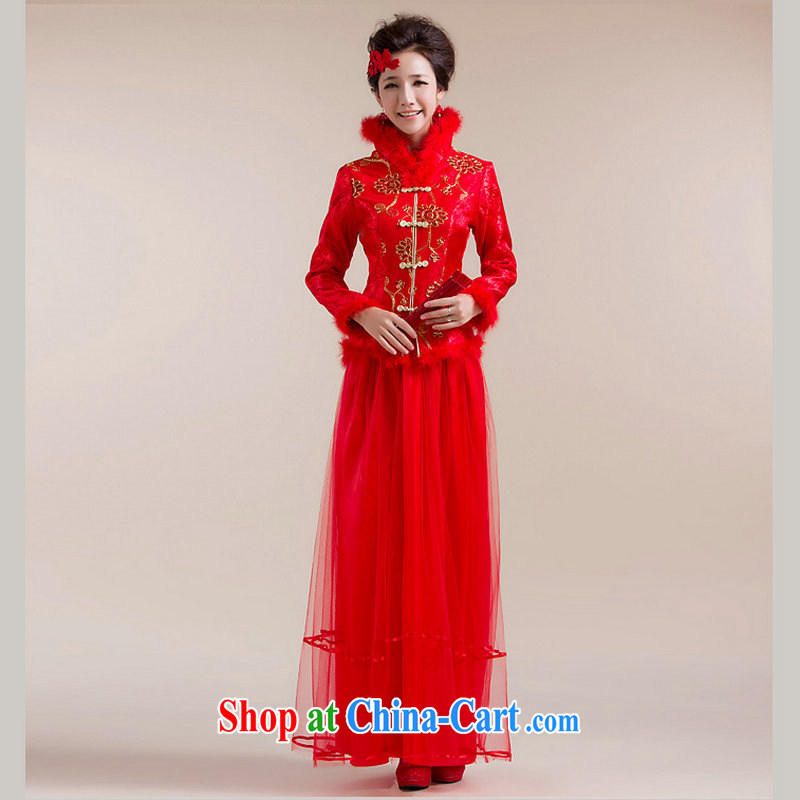 Optimize Philip Wong Yu-hong 2015 New Fleece-high collar Chinese coin multi-layer gauze long skirt Chinese wedding dress XS 7093 red XXL