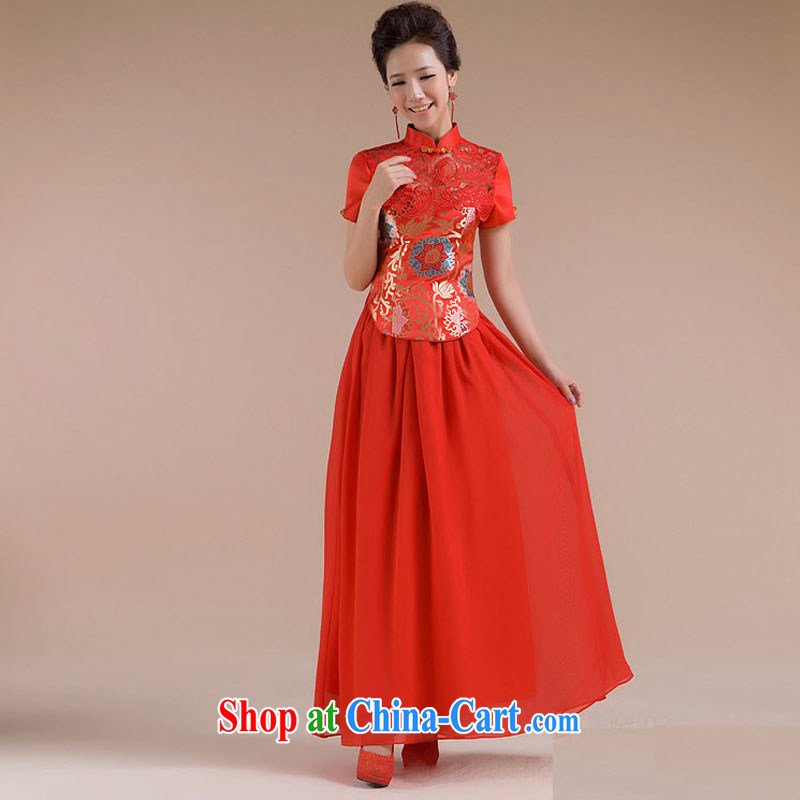 Optimize Hung-new short and cultivating beautiful floral gauze long skirt dress XS 7109 red S