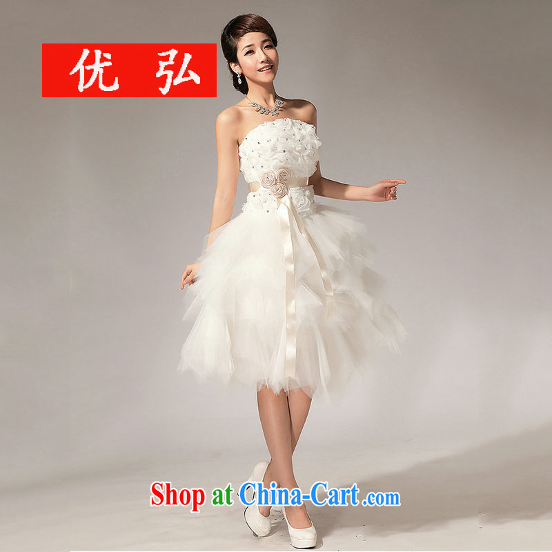 Optimize Hung-2014, new bridesmaid dress wiped chest flowers short skirt and sisters XS 7137 m White XXL