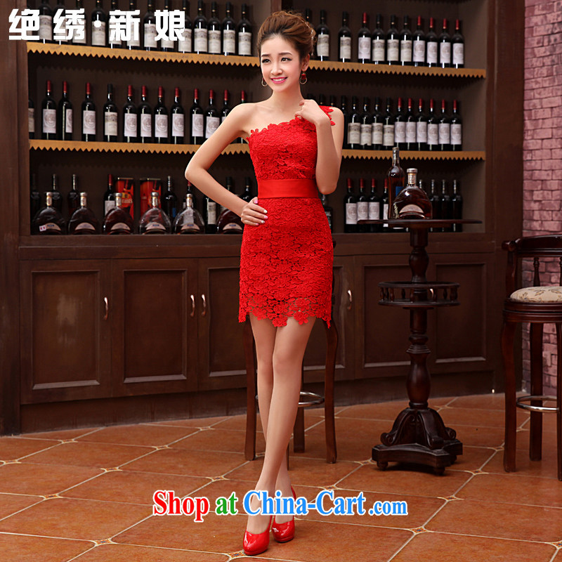 There is embroidery bridal 2015 new spring bride toast wedding service short red stylish dresses, shoulder dress red XXL Suzhou shipping