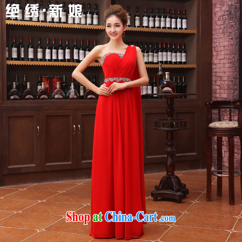 There is embroidery bridal 2015 new marriage wedding dresses long Graphics thin red bridal autumn and winter clothing toast the shoulder graphics thin dress red XXL Suzhou shipping