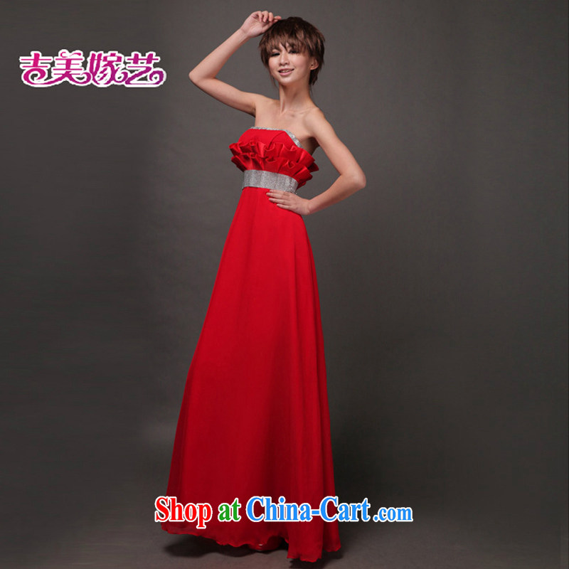 Beijing, and the New Korean dress red evening dress bows drop off their chest pinch fold graphics thin LS 321 bridal gown red XL