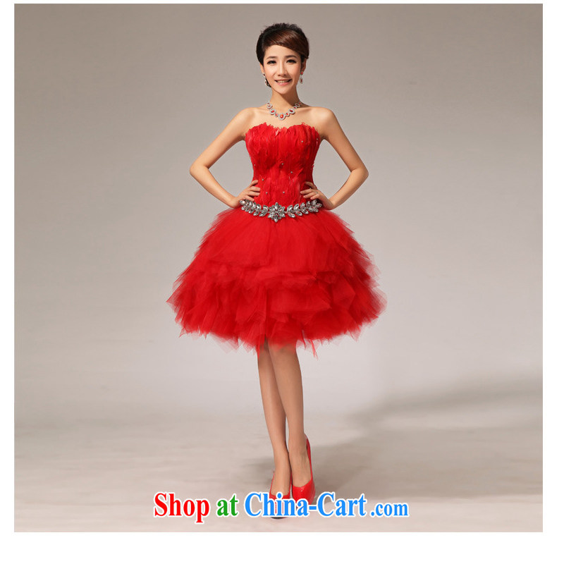 Optimize video bridal wedding dress bridesmaid toast serving serving short red small dress XS 7144 red S