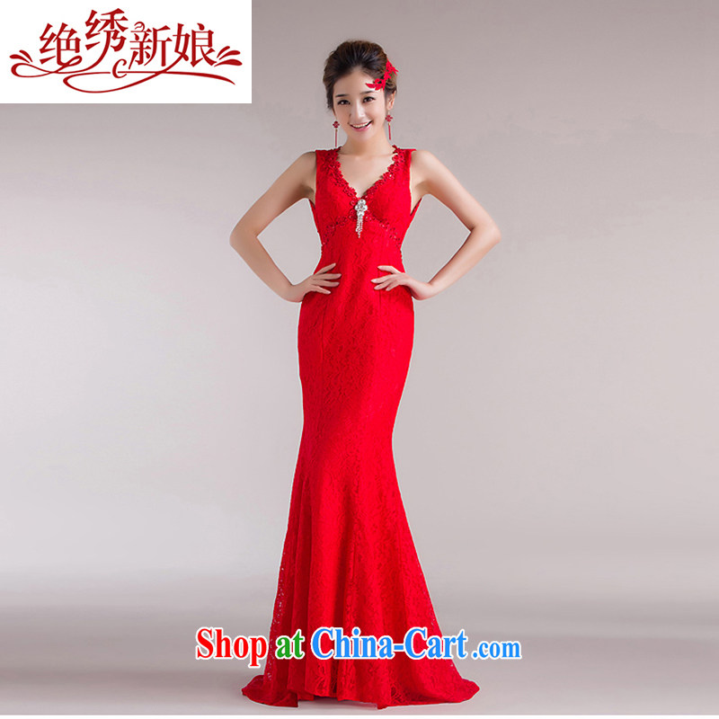 wedding dresses absolutely embroidered bridal 2015 new Korean beauty with bridal crowsfoot wedding dresses red S Suzhou shipping