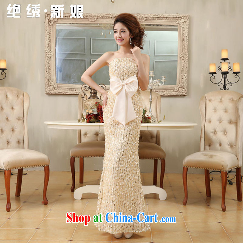 There is a bride's 2015 new spring bridal wedding wedding lace flowers toast wiped his chest red evening dress champagne color 607 set is not returned.