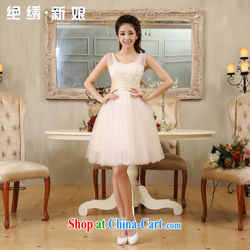 There is embroidery bridal wedding dresses 2015 new short straps bridal bridesmaid dress uniform toasting champagne color set is not returned.