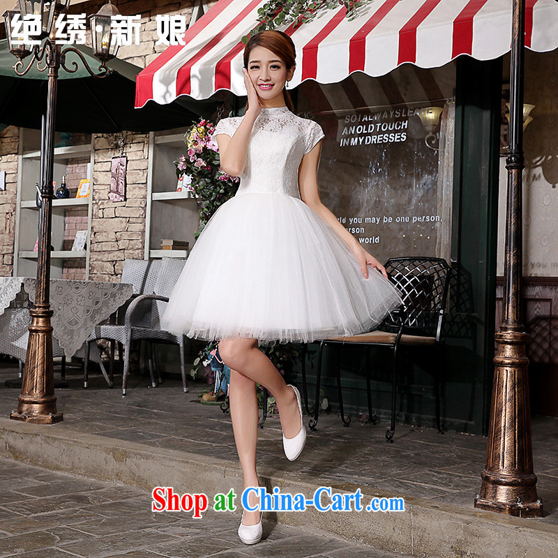 There is embroidery bridal retro lace short, bridal bridesmaid wedding dresses small skirt stylish lace bows clothing bridesmaid clothing fluorescent color XXL Suzhou shipping