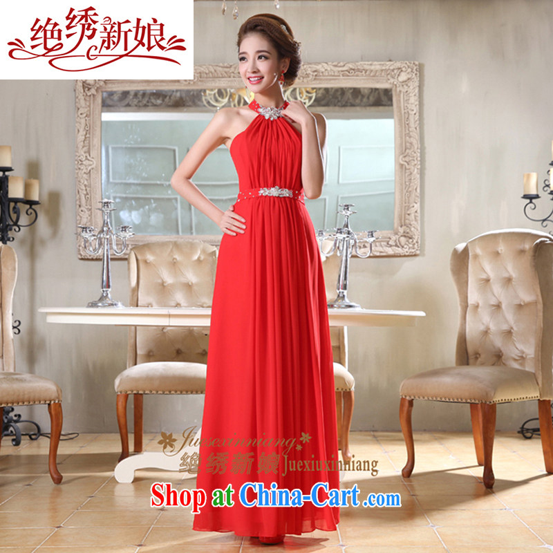 There is a bride Korean-style sense of diamond jewelry is also long evening dress bridal toast serving red XXL Suzhou shipping